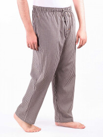 White and Brown Check Cotton Baggy Pajamas
