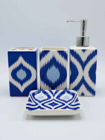 Blue Design Multi Color Bath Set