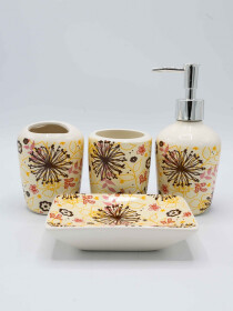 Flower Multi Color 4 Pcs Bath Set