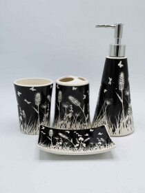 Black and White Fancy 4 Pcs Bath Set