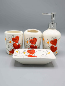 Heart Design Fancy 4 Pcs Bath Set
