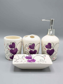 Heart Design Purple Fancy 4 Pcs Bath Set