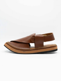 Kaptan Brown Men's Peshawari Chappals