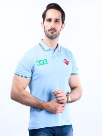 Spartans Polo Shirt Triple Three Light Blue
