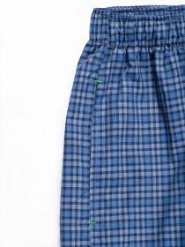 Teal and Blue Check Cotton Baggy Pajamas