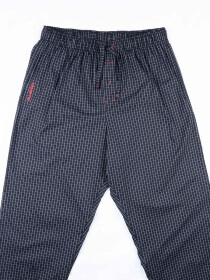 Black with Grid Stretch Cotton Relaxed Pajamas