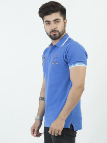Blue Combed cotton Polo Shirt