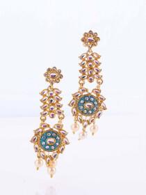 Polki Meena Work Earrings