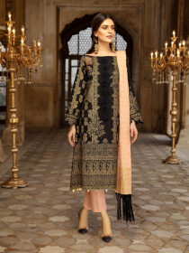 Black Embroidered Self Jacquard Cotton Unstitched 3 Piece Suit