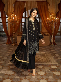 Multi Color Embroidered Self Jacquard Cotton Unstitched 3 Piece Suit