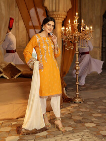 Orange Embroidered Self Jacquard Unstitched Cotton 3 Piece Suit
