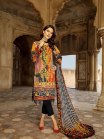 Multi Color Embroidered Cotton Satin Unstitched 3 Piece Suit