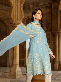 Light Blue Embroidered Self Jacquard Cotton Unstitched 3 Piece Suit