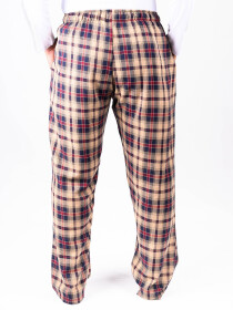 Beige and Red Check Flannel Relaxed fit Pajamas for Winter