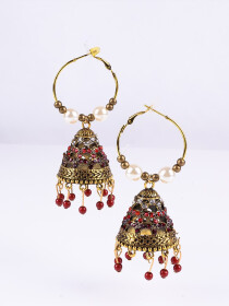 Meenakari Copper Matte Dangler Earrings