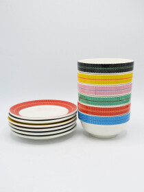 Multi Color Lines Fancy Serving Set 12Pcs