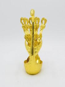 Gold Duck Spoon Holder Large with Six Table Spoons