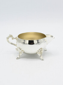 Antique Silver Sugar Pot and Milk Pot Set with Tray
