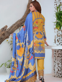 Yellow Digital Printed and Embroidered Linen Unstitched 3 Piece Suit