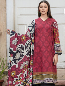 Red 2 Piece Khaddar Suit