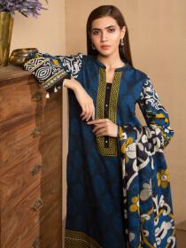 Blue 2 Piece Khaddar Suit