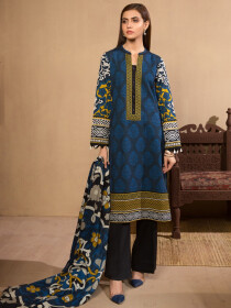 Blue 2 Piece Khaddar Suit