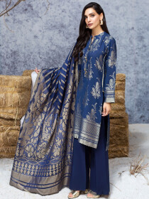 Blue 2 Piece Jacquard Suit
