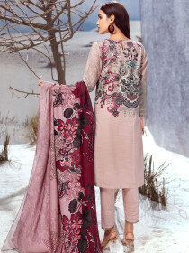 Tea Pink 3 Piece Khaddar Suit