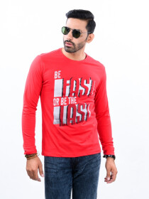 Red Printed Round Neck T-Shirt