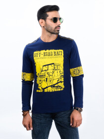 Navy Blue Printed Round Neck T-Shirt