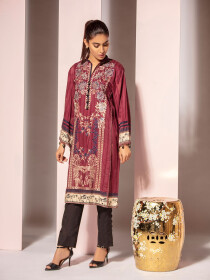 Maroon Digital Printed Embroidered Linen Shirt