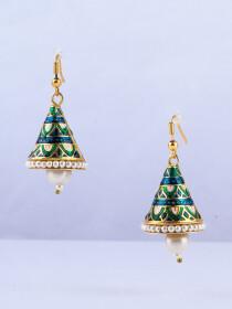 Bell Shape Meenakari Tassel Jhumka