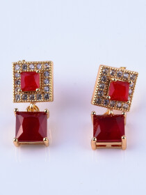 Red Gold Plated Zircon Square Earrings