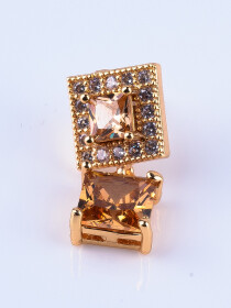 Gold Plated Zircon Square Earrings