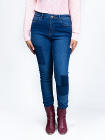 Blue Stretch Patched Denim Jeans