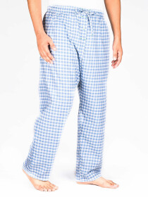 Light Blue Check Cotton Blend Relaxed Pajamas