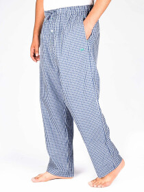 Blue & White Check Cotton Blend Relaxed Pajamas