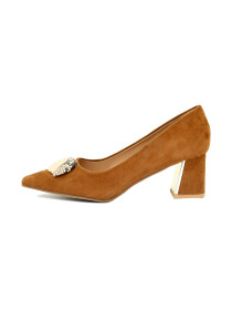 Brown Flare Heel Pumps