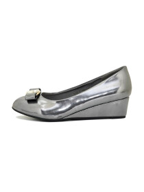 Gray Low Heel Wedge Pumps