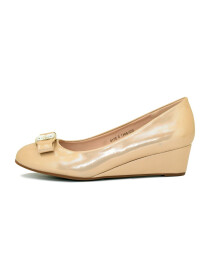 Golden Wedge Heel Pumps
