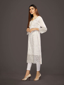 White Embroidered Linen Shirt