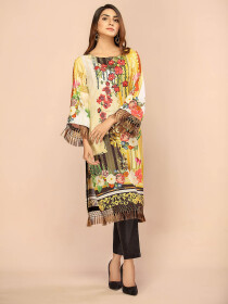 Yellow Digital Printed & Embroidered Linen Shirt
