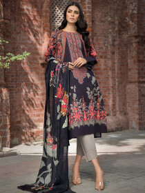 Multi Colored Embroidered Winter Cotton 2 Piece Suit