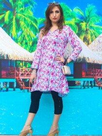 White & Pink Floral Printed Cotton Kurta