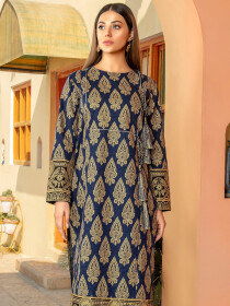 Navy Blue Printed Slub Khaddar Shirt