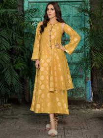 Yellow Printed Jacquard Shirt