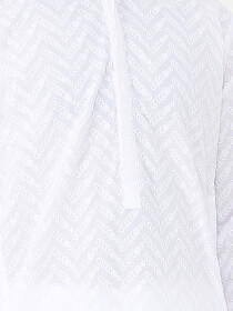 White Embroidered Cotton Kurta