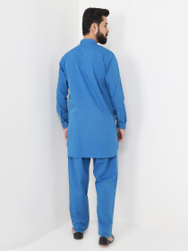 Light Blue Cotton Kurta Trouser Suit