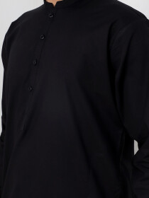 Black Cotton Kurta Trouser Suit