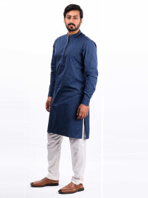 Navy Blue Cotton Kurta
